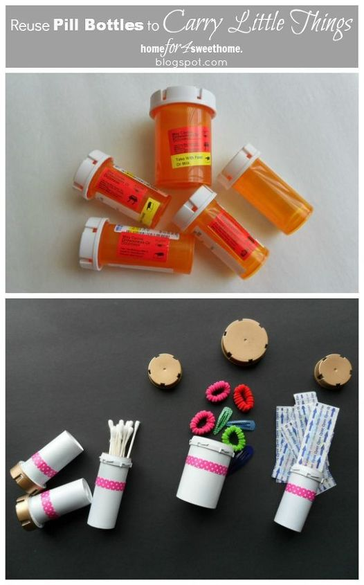 reuse pill bottle to carry little things, cleaning tips, repurposing upcycling