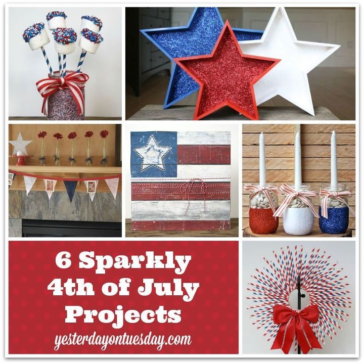 6 sparkly 4th of july projects 4thofjuly, crafts, decoupage, mason jars, painting, patriotic decor ideas, seasonal holiday decor, wreaths