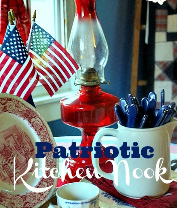 patriotic kitchen nook, kitchen design, patriotic decor ideas, seasonal holiday decor