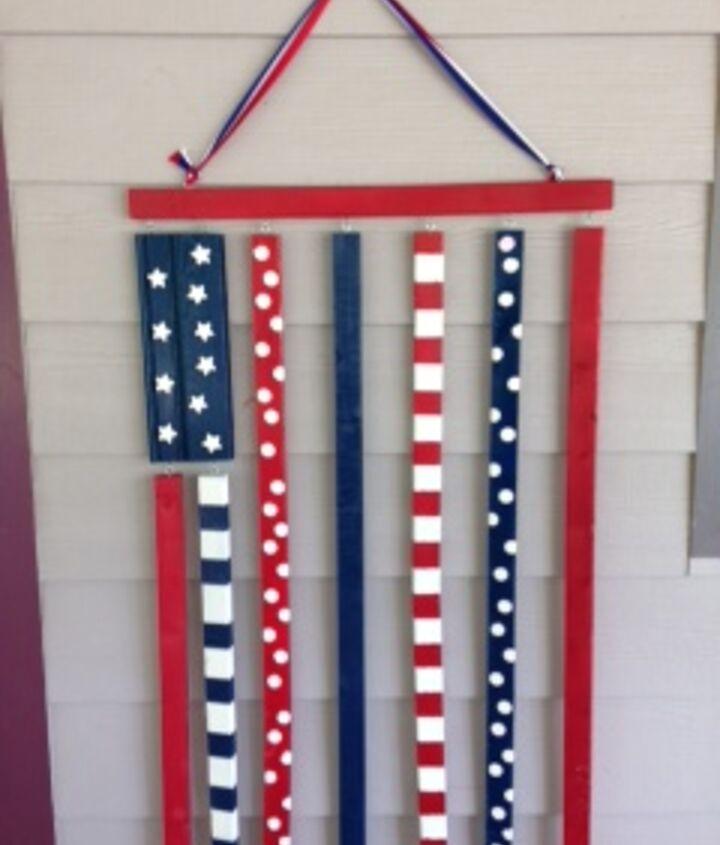 patriotic wooden flag, crafts, patriotic decor ideas, seasonal holiday decor