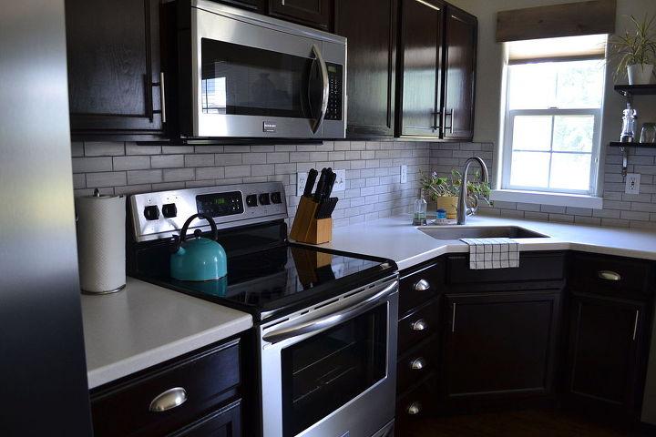 Kitchen Reveal Dark Cabinets Light Counters Hometalk