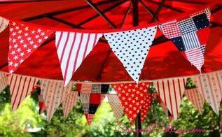 patriotic red white blue banner, crafts, patriotic decor ideas, seasonal holiday decor