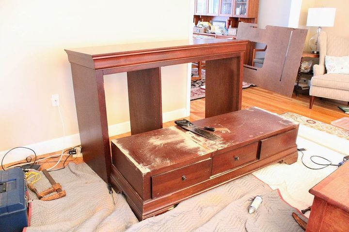 from tv armoire to built in kitchen banquette, diy, painted furniture, repurposing upcycling