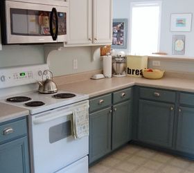 Boring To Blue Kitchen Makeover, Diy, Kitchen Cabinets, Kitchen Design,  Painting