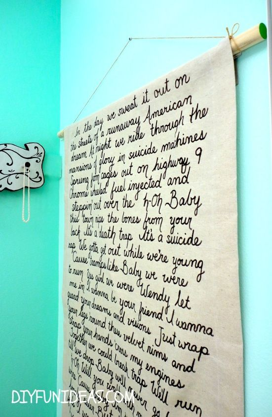 HOW TO MAKE SONG LYRIC WALL ART ON DROP CLOTH CANVAS | Hometalk