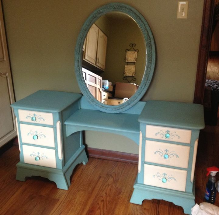 hand painted antique vanity desk, painted furniture