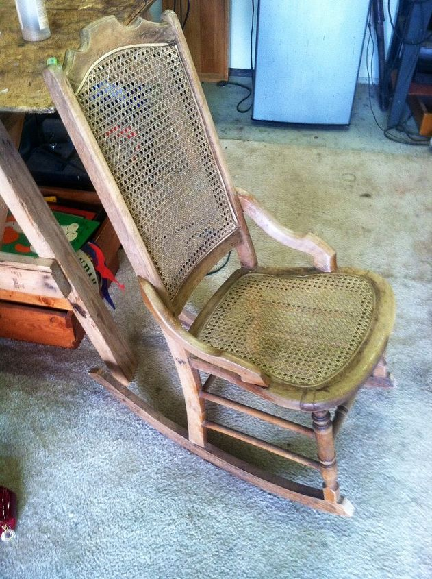 one hundred year old rocker restored, painted furniture