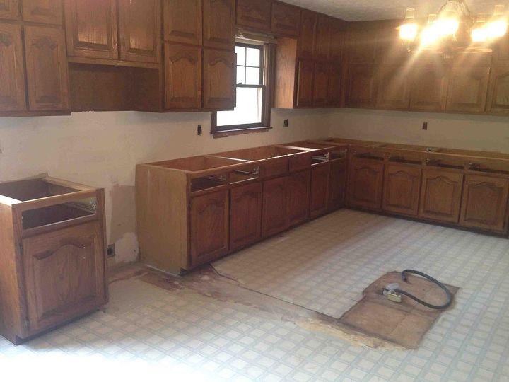 kitchen remodel has began, home improvement, kitchen design, kitchen island
