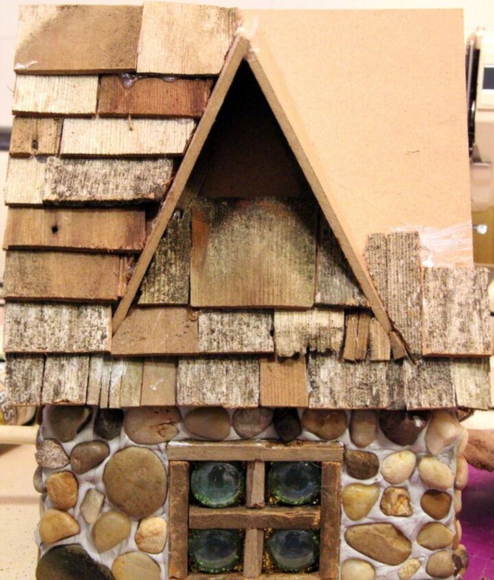 a stone cottage birdhouse, crafts