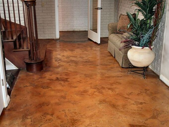 residential flooring stained concrete project, concrete masonry, flooring, painting