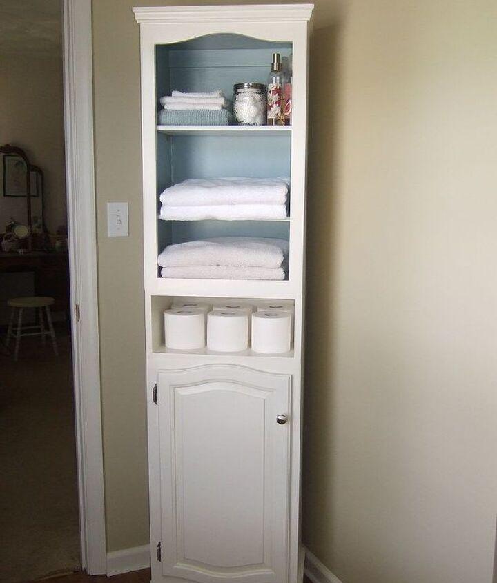linen cabinet storage diy, painted furniture, shelving ideas, storage ideas