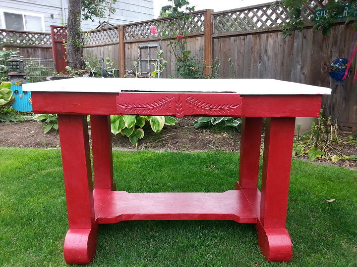 from old burnt farm table to colorful workspace with sk, painted furniture