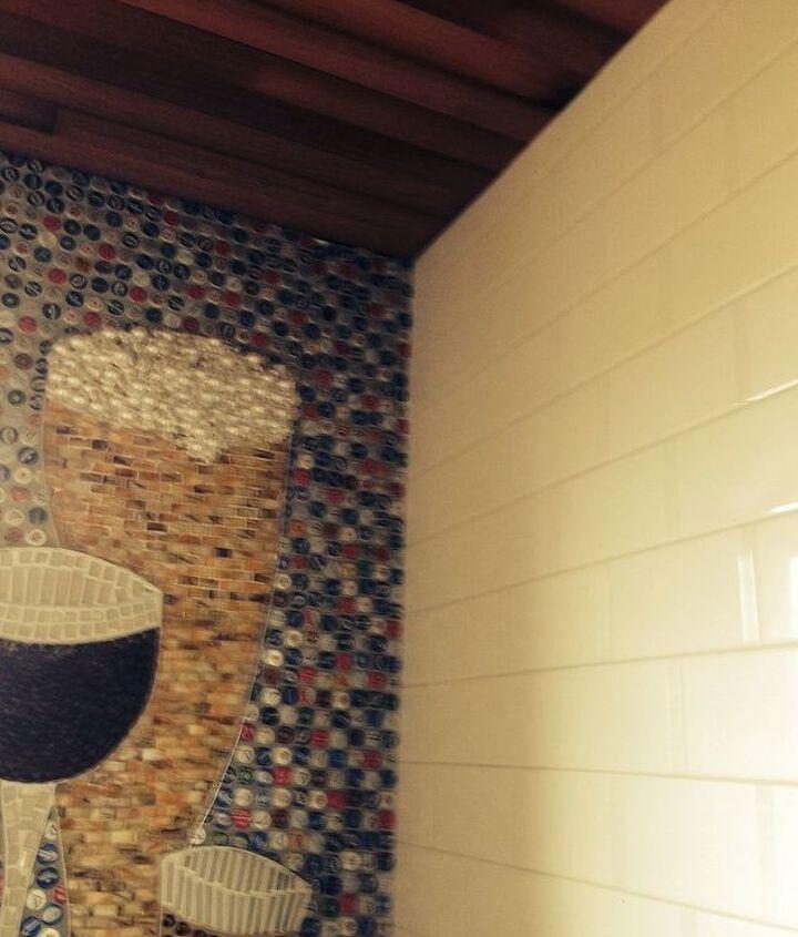 beer bottle cap wall floor, bathroom ideas, diy, flooring, repurposing upcycling