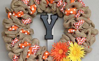diy summer burlap wreath orange chevron and polka dot, crafts, seasonal holiday decor, wreaths
