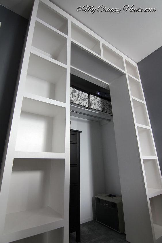 built in bookshelves around a closet, closet, diy, storage ideas, woodworking projects