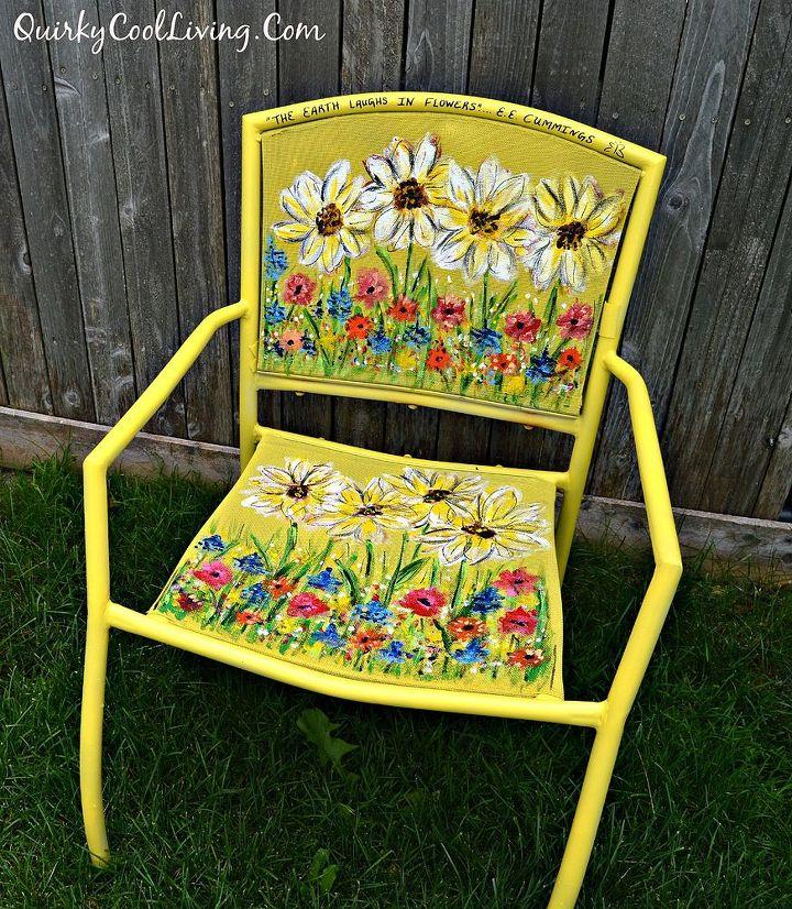 Painting Garden Furniture Painted garden chair art hometalk painted garden chair art outdoor furniture outdoor living painted furniture workwithnaturefo