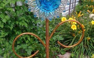 dish flower diy garden craft, crafts, gardening, repurposing upcycling, Ann Elias copper stemed flower