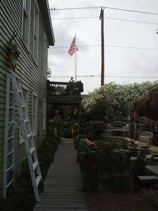 grandpa s old wood ladder planter, flowers, gardening, repurposing upcycling