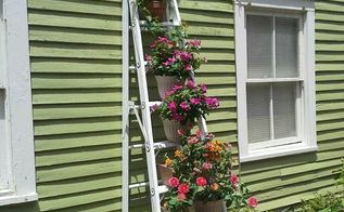 grandpa s old wood ladder planter, flowers, gardening, repurposing upcycling