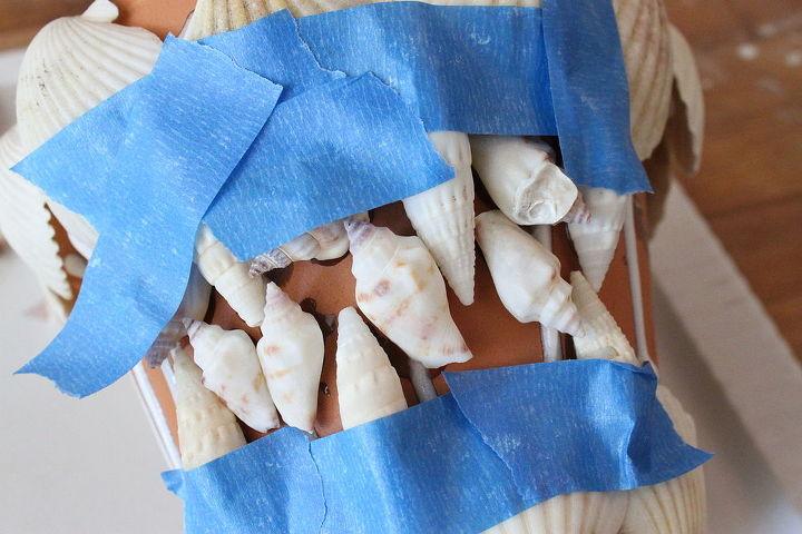 sea shell flower pot, crafts