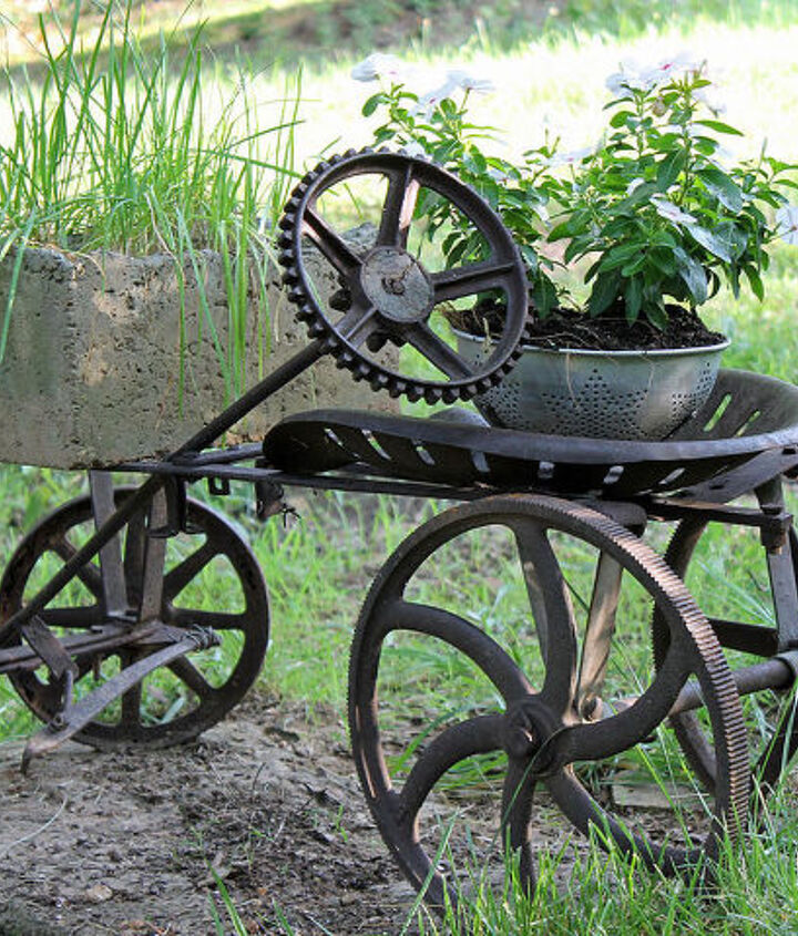 steampunk yard art, container gardening, flowers, gardening, repurposing upcycling