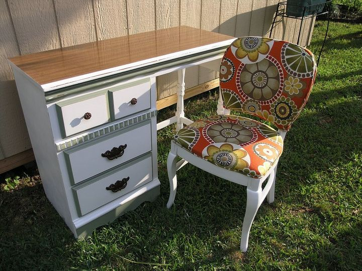 retro desk and chair, painted furniture