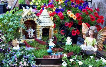 fairy garden outdoor decor, container gardening, flowers, gardening