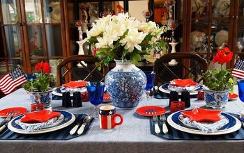 Plum Creeks Red,  White,  and Mostly Blue Patriotic Table Decor