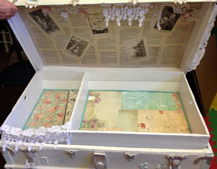 shabby chic trunk re do, chalk paint, decoupage, painted furniture, repurposing upcycling, shabby chic