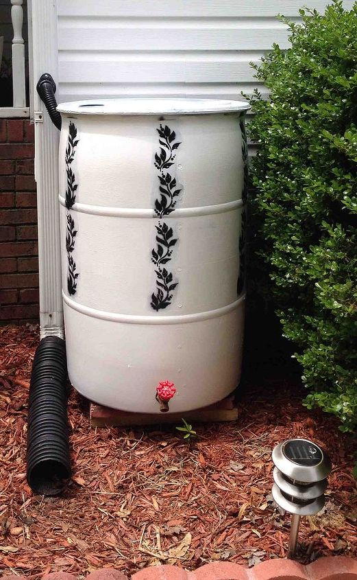 rain barrel, gardening, go green, Got it all connected with the hose and leveled out