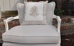 painted fabric chair grey restore, painted furniture, reupholster