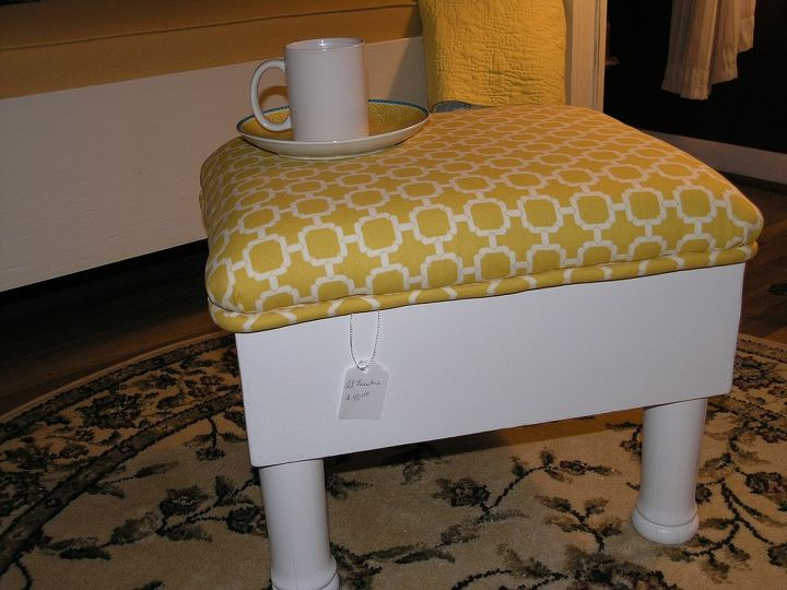 ottoman antique upcycle, painted furniture