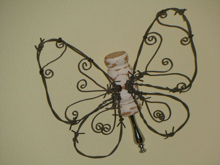 butterfly barbed wire wall ornaments, crafts, home decor, wall decor