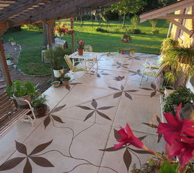 Patio Remodel Paint Design, Concrete Masonry, Diy, Patio, Our Newly Painted  Patio