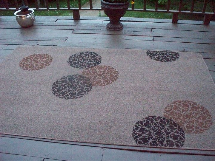 stenciled rug deck diy, decks, flooring, home decor, painting