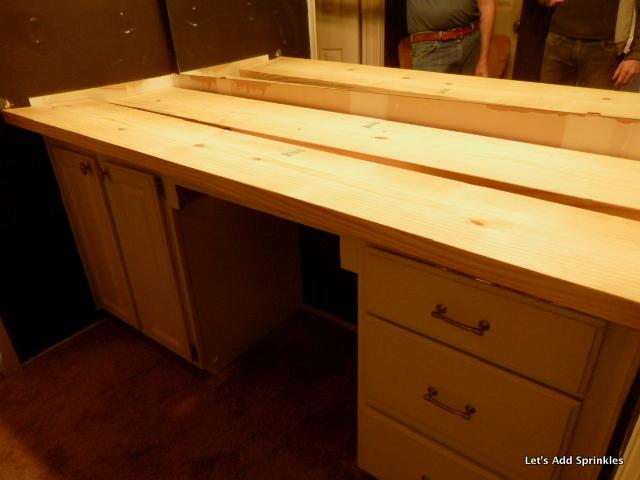 wooden bathroom countertop, bathroom ideas, countertops, diy, small bathroom ideas, woodworking projects