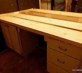 Wooden Bathroom Countertop, Bathroom Ideas, Countertops, Diy, Small Bathroom  Ideas, Woodworking