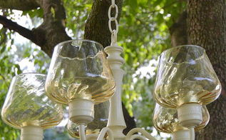 chandelier upcycle outdoor candle, outdoor living, repurposing upcycling