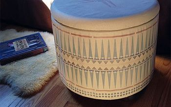 ottoman makeover vintage diy tribal, painted furniture, reupholster