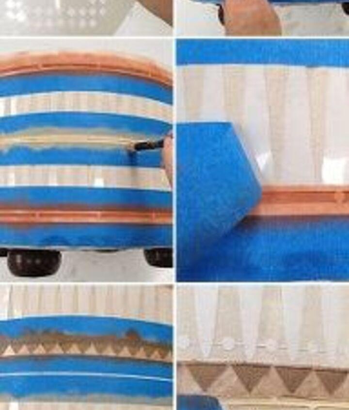 ottoman makeover vintage diy tribal, painted furniture, reupholster