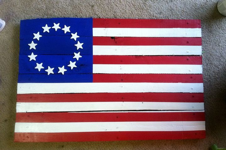 colonial flag wood paint diy, patriotic decor ideas, repurposing upcycling, seasonal holiday decor, woodworking projects, Finished Product