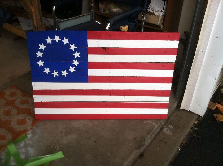 colonial flag wood paint diy, patriotic decor ideas, repurposing upcycling, seasonal holiday decor, woodworking projects