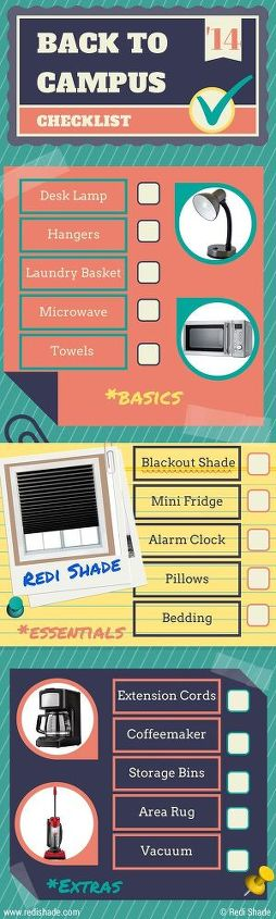 back to campus checklist infographic, bedroom ideas, organizing