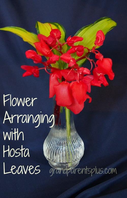 flower arranging hosta leaves, flowers, home decor