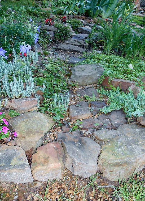 garden sloped yard water drainage, flowers, gardening, landscape, outdoor living