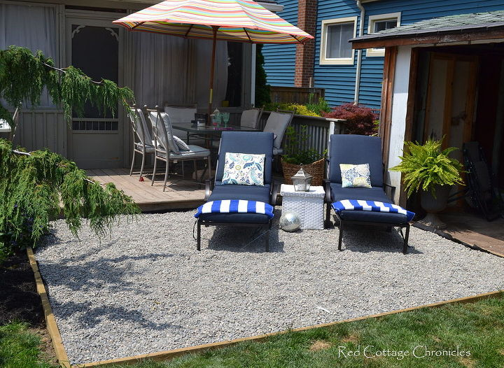 pea gravel patio, diy, landscape, patio, A relaxing space to hang out in the sun
