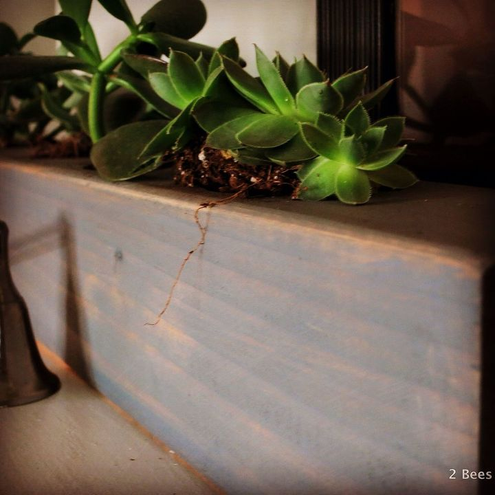 succulent wood planter mantel how to, fireplaces mantels, gardening, home decor, succulents