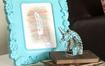 frame feather art diy, crafts, home decor