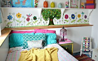 mural bohemian little girls room, bedroom ideas, diy, home decor, painting
