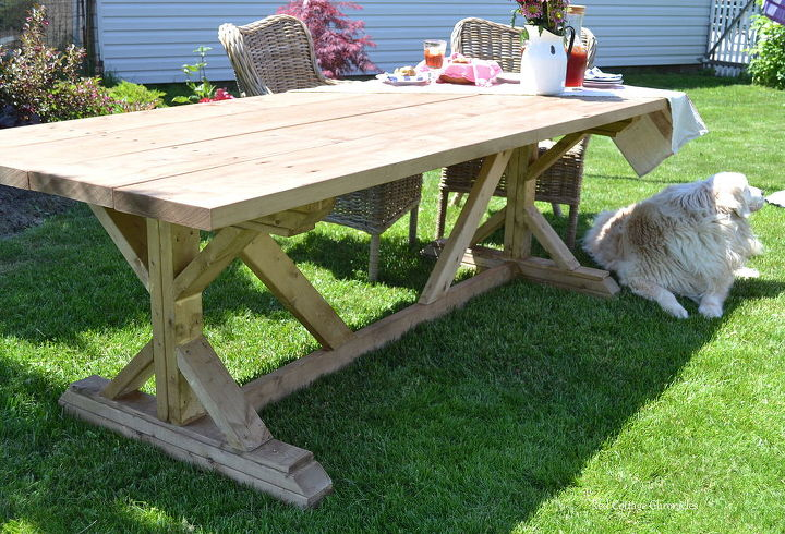 outdoor harvest table, diy, outdoor furniture, woodworking projects